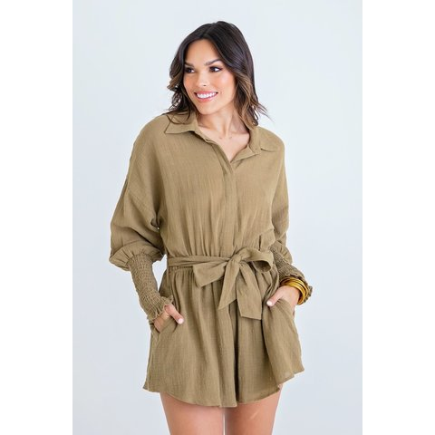 Olive Button up Romper