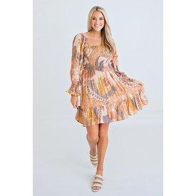 Floral 70's Smock Dress