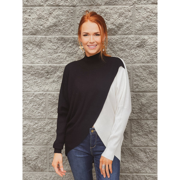 Black Odd White Color Block MOck Neck Sweater
