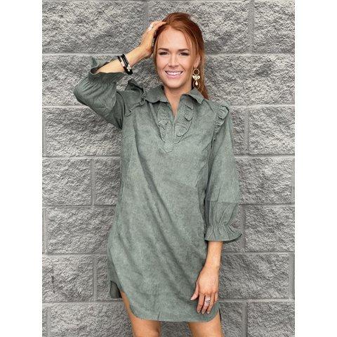 Corduroy Shirtdress- Olive
