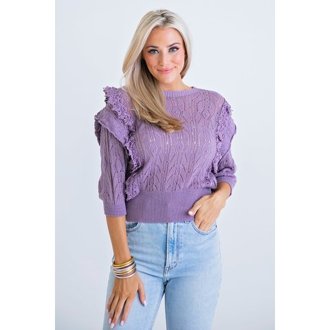 Purple Solid Scoop Novelty Sweater