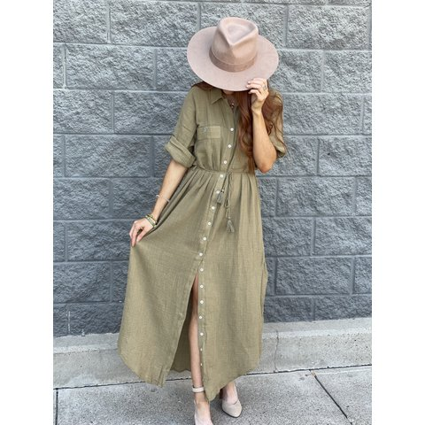 Olive Button front Maxi Dress