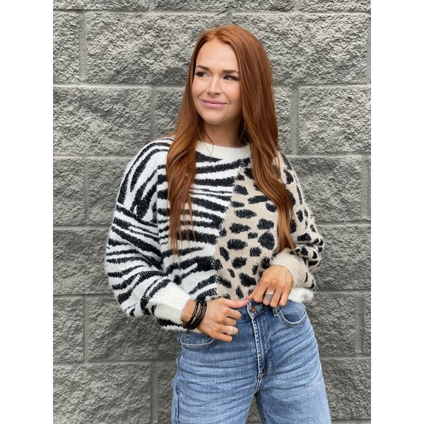 Taupe Black Crew Nk Sweater