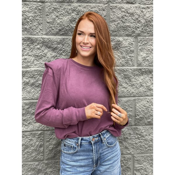 Berry Wine Shoulder Pad Pullover