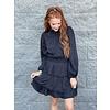 Black Cinched Tier Mini Dress