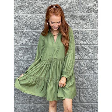 Olive Waist Tiered Dress