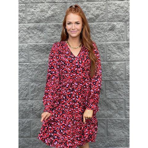 Red Leopard _Vneck Long Sleeve Dress