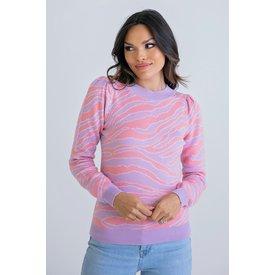 Purple/Pink Print Puff Sleeve Sweater