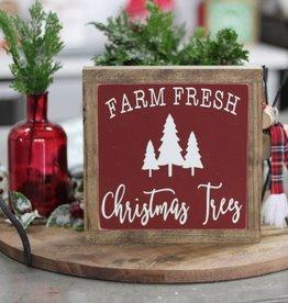 """Farm Fresh Christmas Tree Wood Sign 9.5"""" x 9.5"""""""