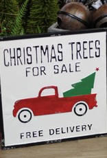Xmas Tree and Truck Metal Sign