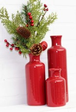 Bottle Vase Set of 3-Red