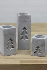 Votive Holder Square w/ Tree-cement