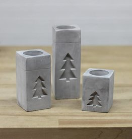 Votive Holder Square w/ Tree-cement
