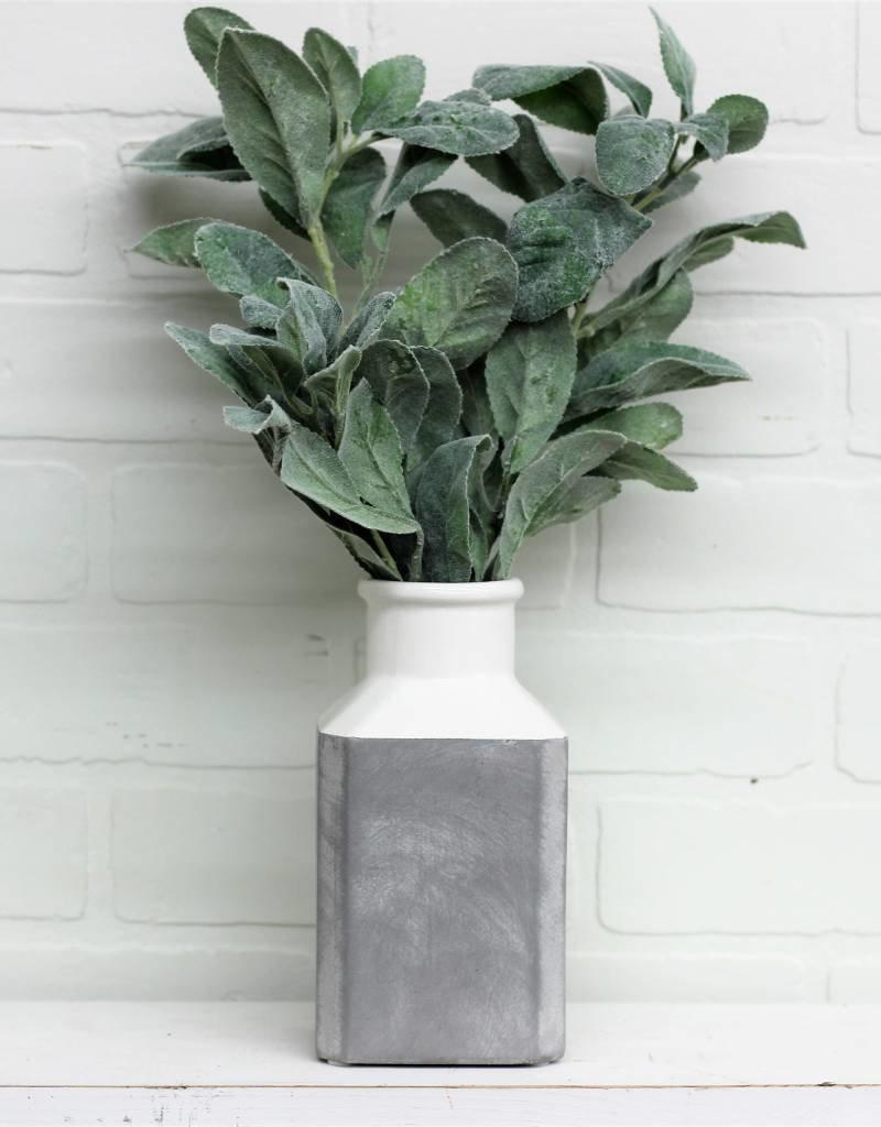 """7"""" Grey/White Square Vase"""