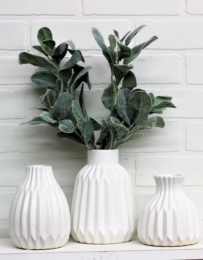 Matte White Ceramic Vase (set of 3)