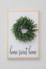 Home Sweet Home Wood Sign w/Wreath