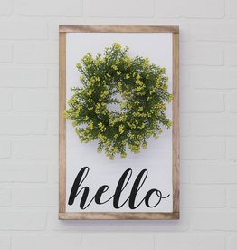Wood Sign with Yellow wreath