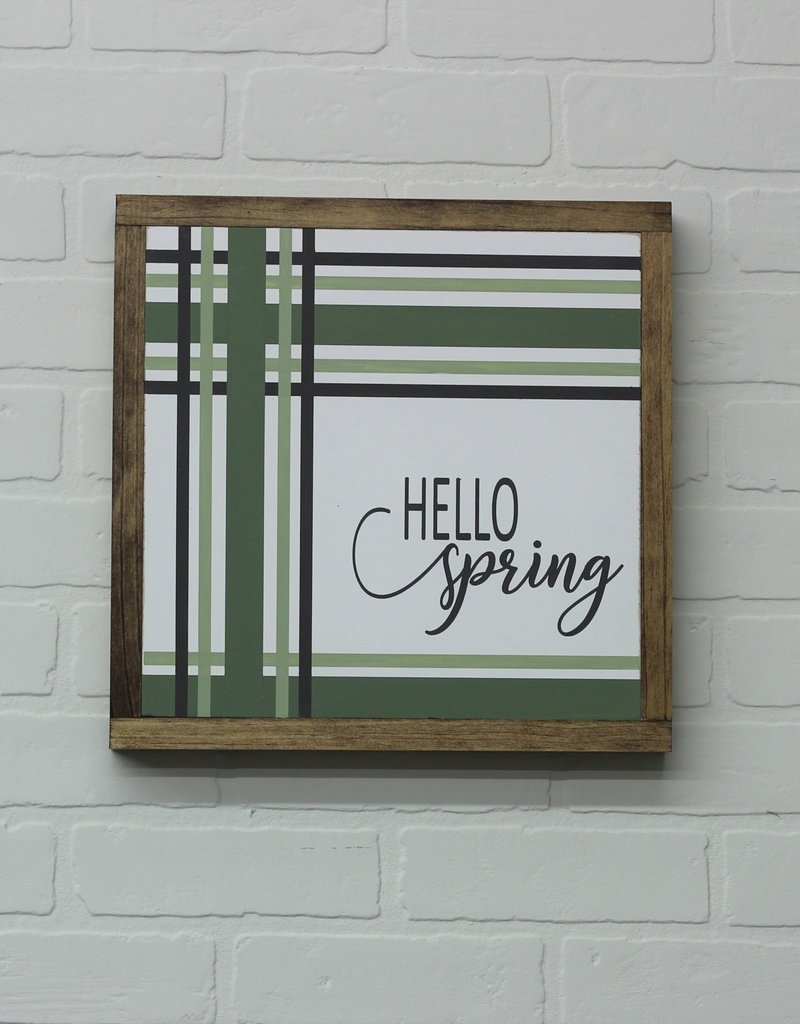 Hello Spring Strip Wood Sign
