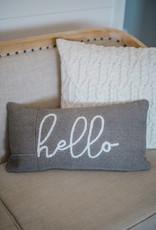 Hello Gray Pillow