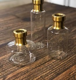 Set of 3 Glass and Gold Bud Vases