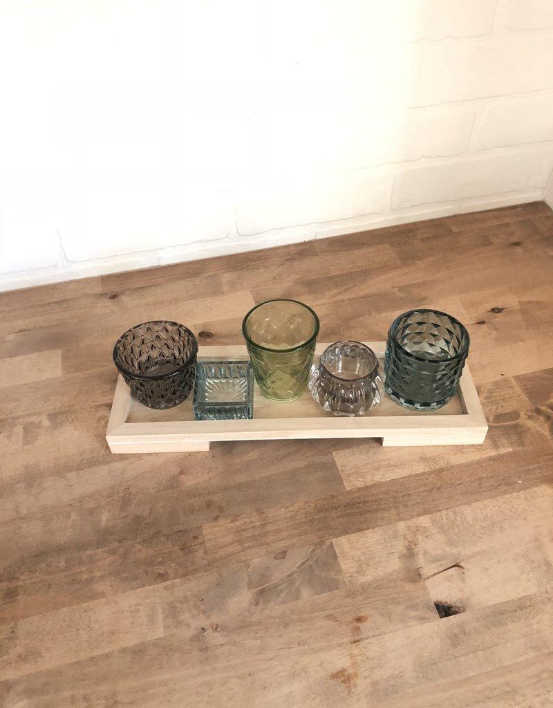 Wood Tray w/5 Glass Votives