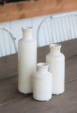 White Crackle Bottle Vase-Set of 3