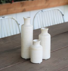 White Crackle Bottle Vase-Set of 3
