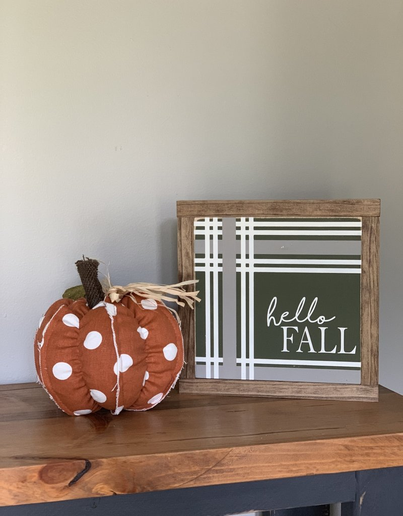 Hello Fall Plaid Sign