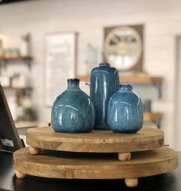 Mini Vase Set of 3, Blue Clay