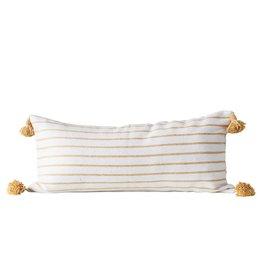 """35""""L White w/gold Stripe Pillow"""