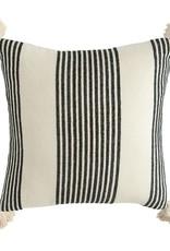 """20"""" Striped pillow w/tassels black"""