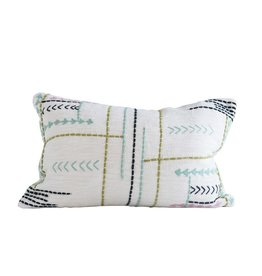 """Cotton Pillow w/embroidery 24""""x16"""""""