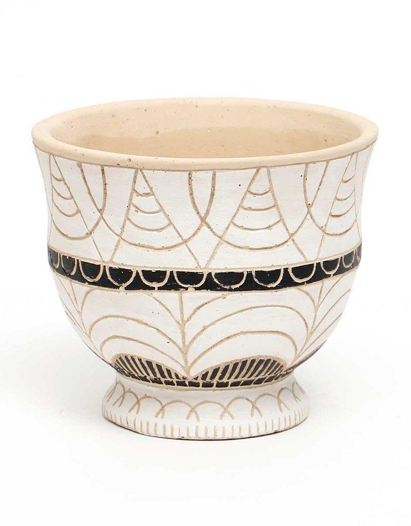 Black/Cream Tribal Pot