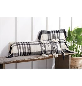 Black white check pillow