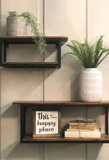 Metal/wood wall shelf