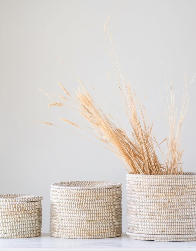Natural Woven Seagrass Baskets w/ Lid, Whitewashed