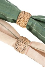 Set of 4 woven cane napkin rings