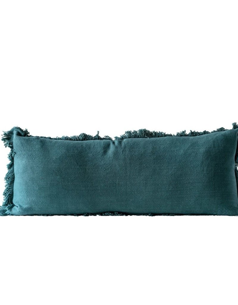 Cotton pillow w/fringe (green)
