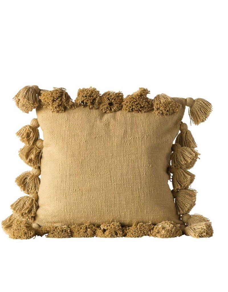 """18"""" cotton pillow w/tassles (Mustard)"""
