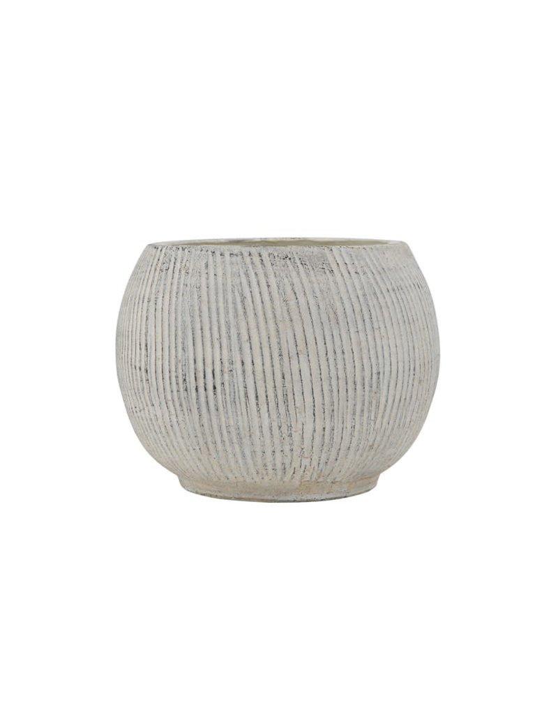 Terra-cotta Textured Planter, Cream