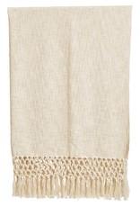Cotton Woven Thow w/crochet & fringe