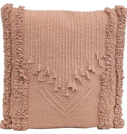 "22"" Cotton embroidered pillow (Putty)"