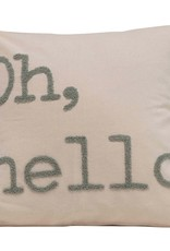 """18"""" Cotton Pillow w/ Embroidery, Grey, """"Oh, Hello"""""""