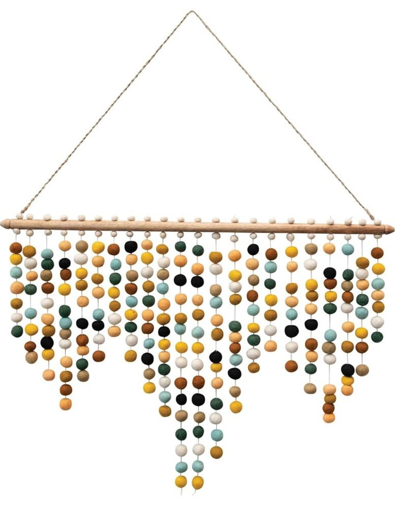 Wall Hanging w/ Wool Felt Pom Poms, Multi Color