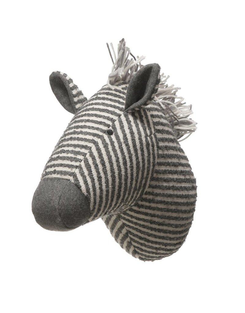 Wool Blend Zebra Head Wall Decor, Grey & White