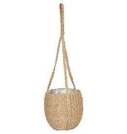 """Hand woven hanging seagrass basket 8"""""""