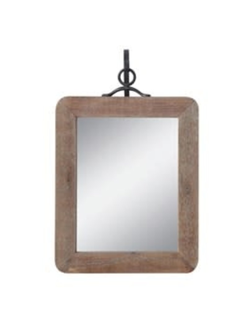 "16"" Wood and Metal Wall Mirror"