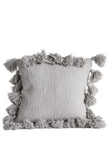 "18"" square pillow with tassels, grey"