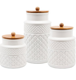 Set of 3 Faceted Canisters