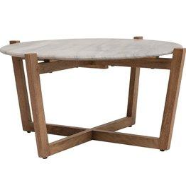 "Marble & Acacia wood coffee table 33.5""R x 16""H"